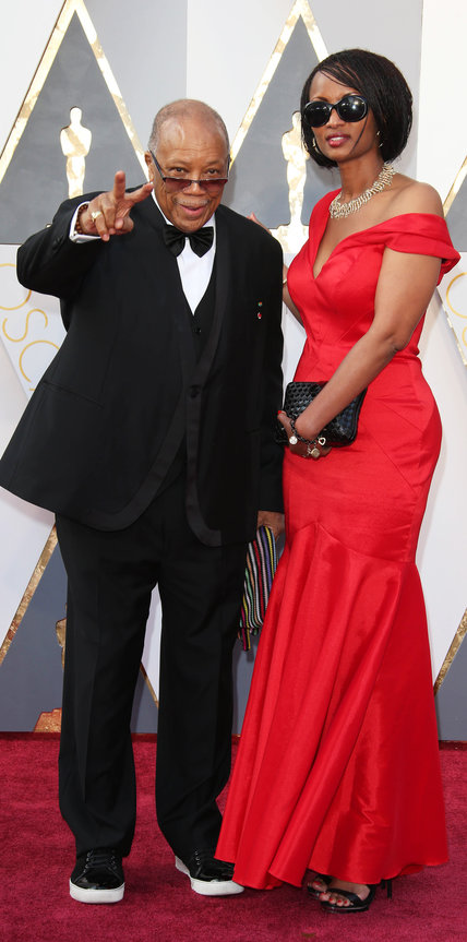 Feb 28, 2016; Hollywood, CA, USA; Quincy Jones (left) arrives on the red carpet during the 88th annual Academy Awards at the Dolby Theater. Mandatory Credit: Dan MacMedan-USA TODAY NETWORK *** Please Use Credit from Credit Field ***